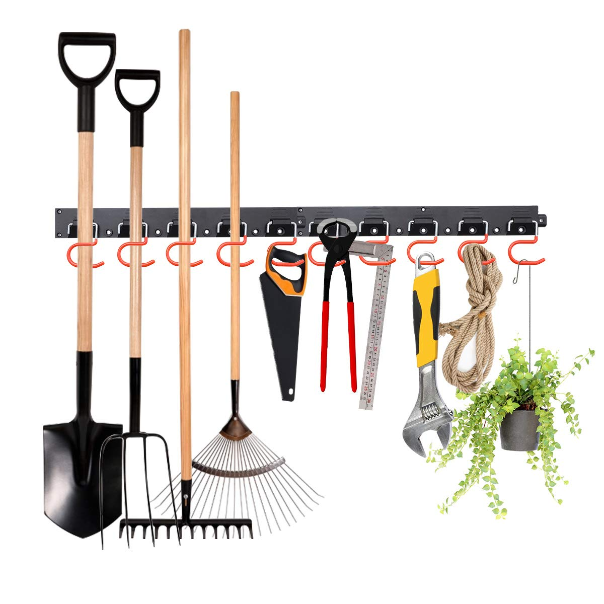 MOHOO-Adjustable-Storage-System-64-Inch-Wall-Holders-for-Tools-Wall-Mount-Tool-Organizer-Garage-Organizer-Garden-Tool-Organizer-Heavy-Duty-Tools-Hanger-with-4-Rails-16-Hooks