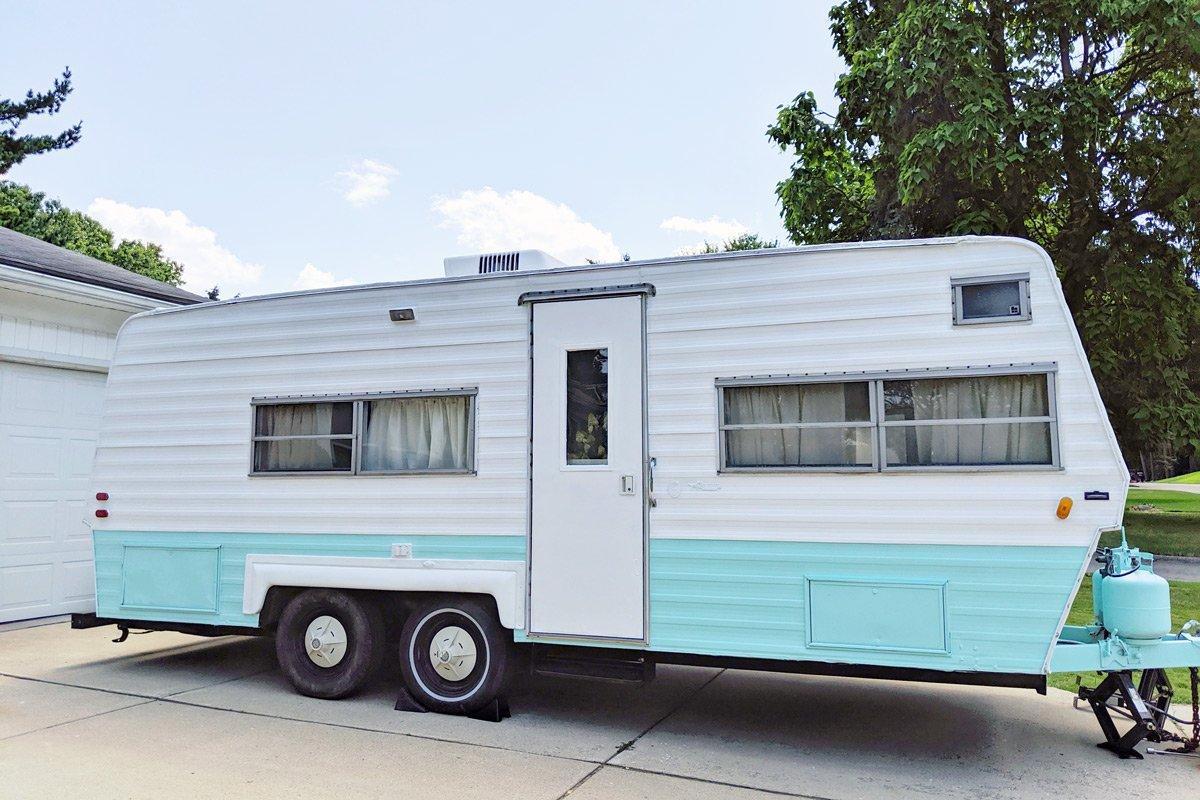 A renovated 1970s RV trailer.