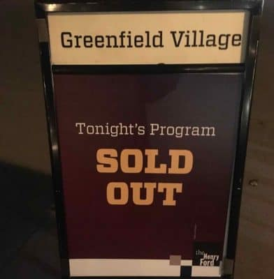Holiday Nights at Greenfield Village - Sold Out Sign