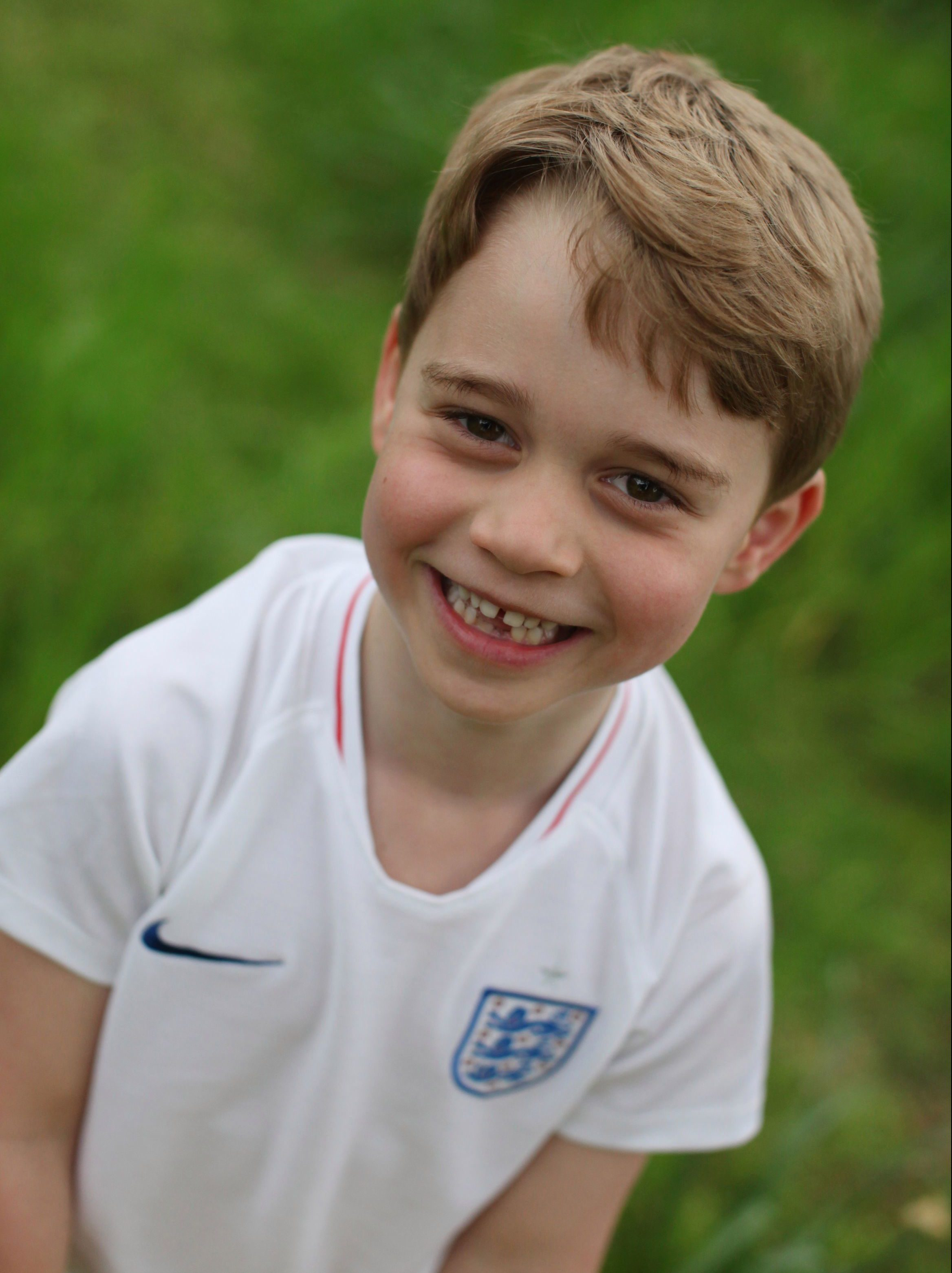 Prince George was pictured in his England football kit this year for his sixth birthday
