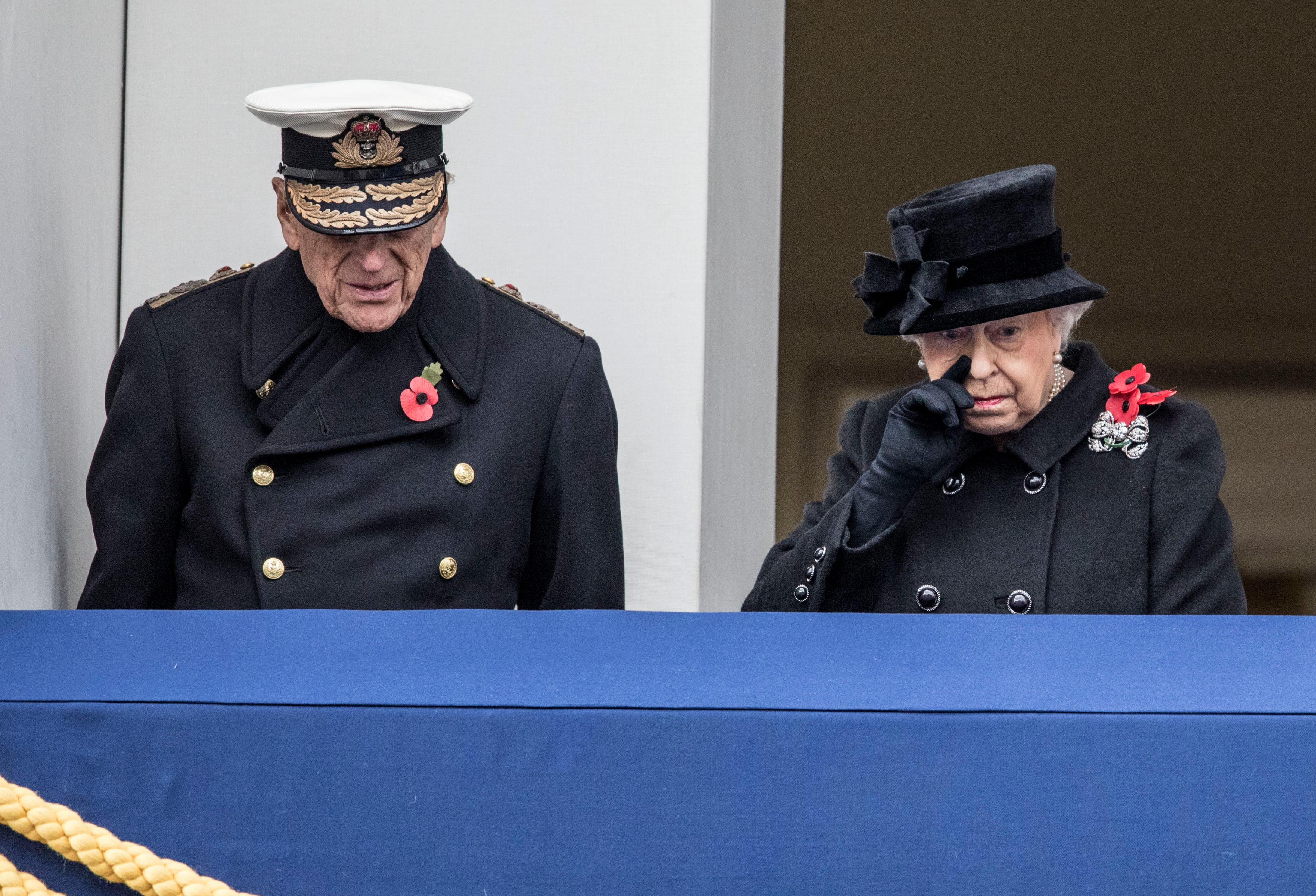 Philip appeared on the balcony with the Queen on Remembrance Day in 2017 - despite being in terrible pain from his hip