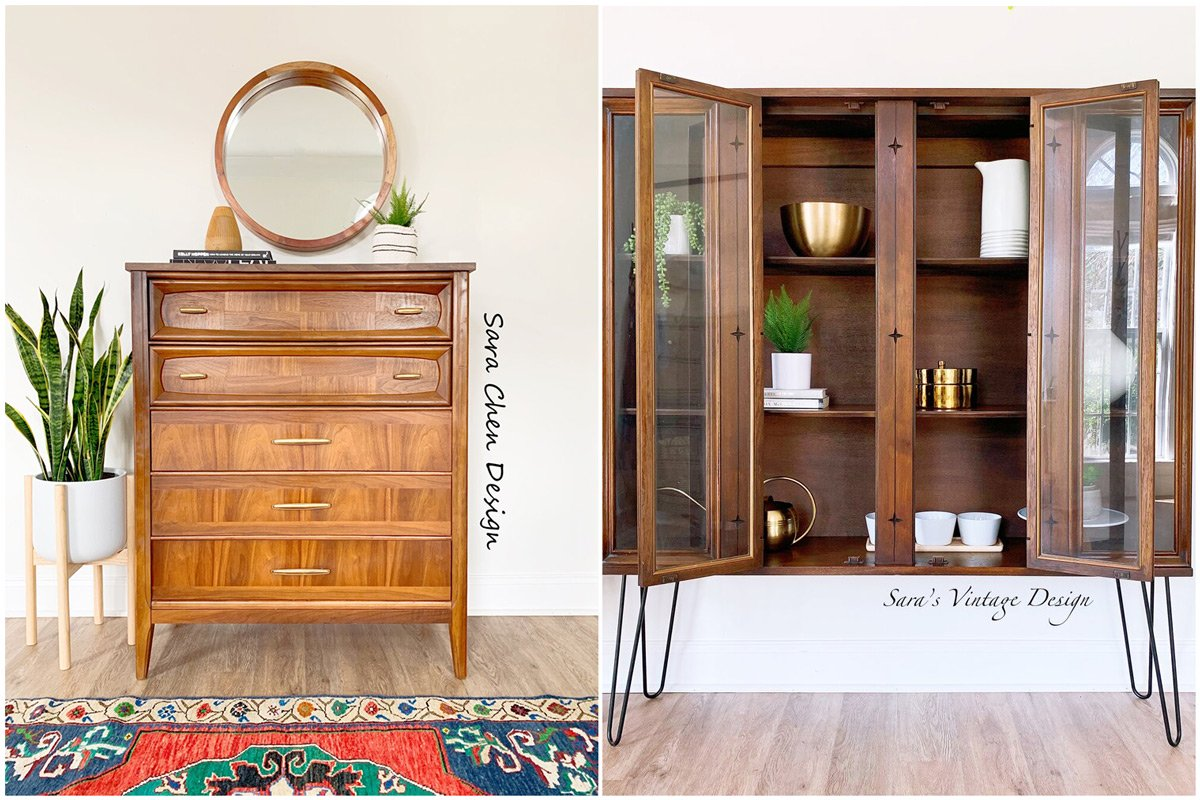 Two pieces of furniture Sara Chen flipped including a dresser and hutch.