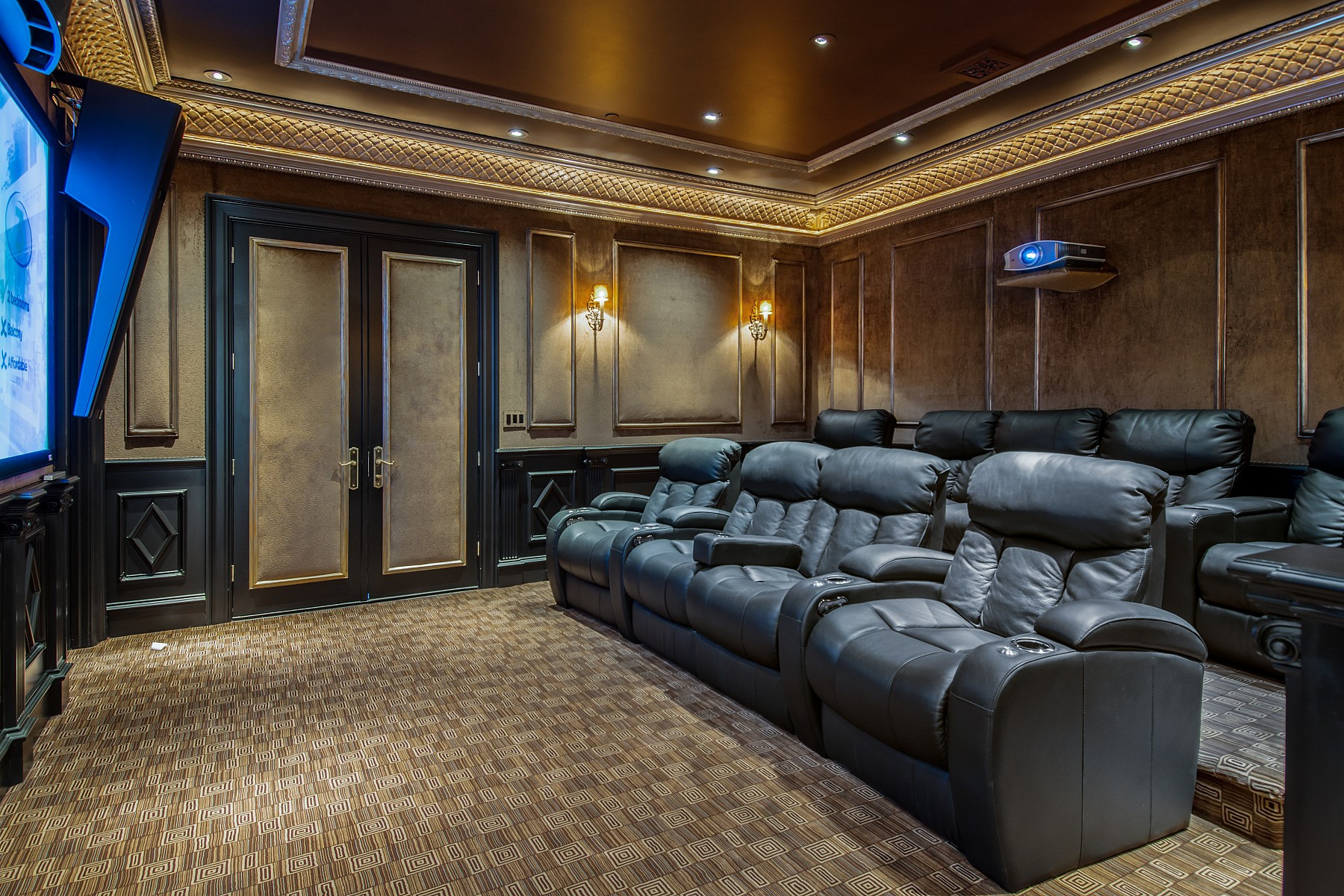 The property boasts a mega cinema room