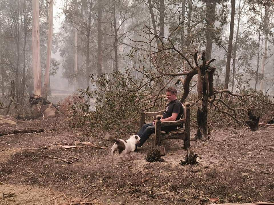 India posted this photo of a bench that survived the fires in Goongerah