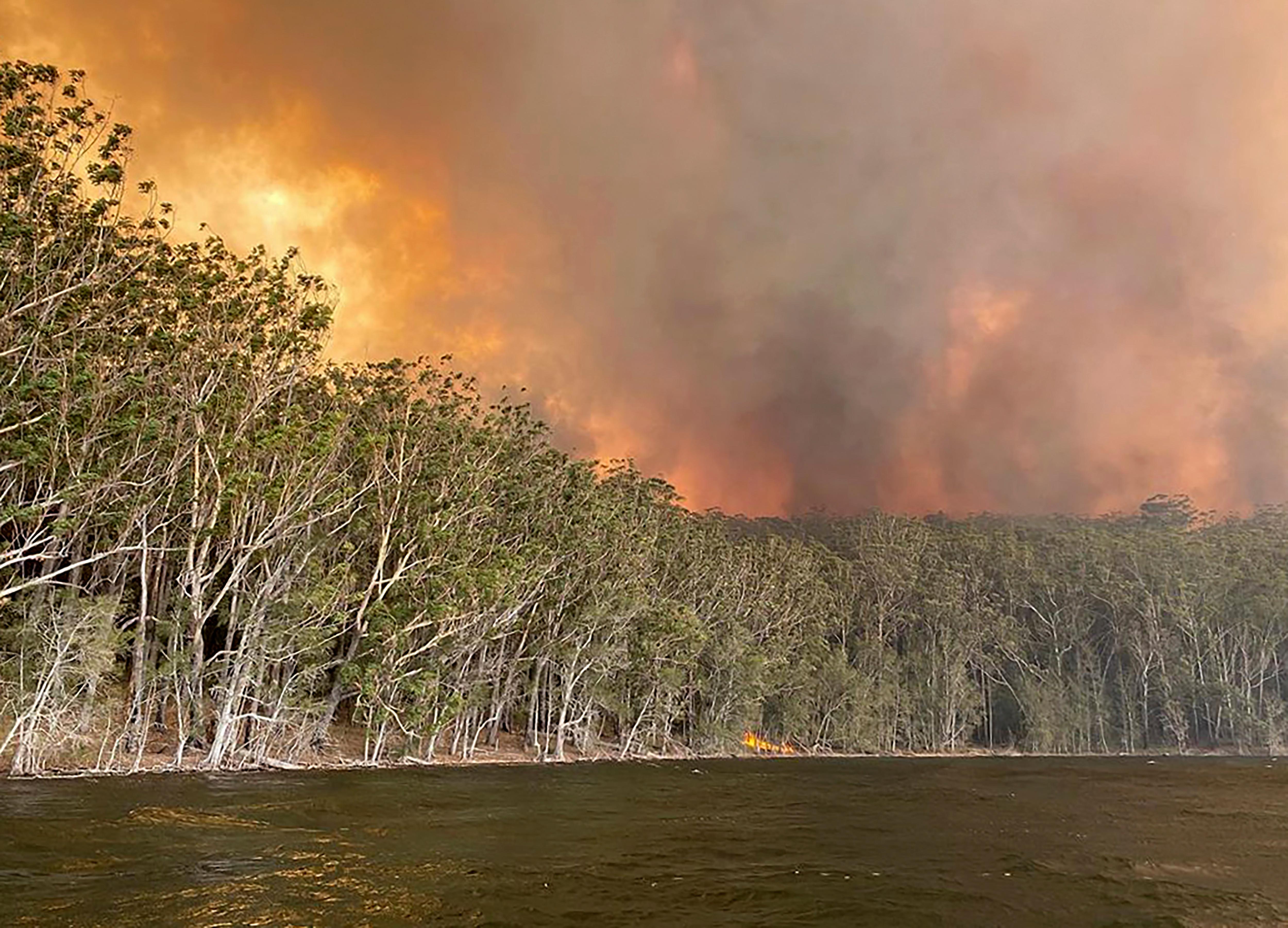 Fires burning at Lake Conjola, New South Wales