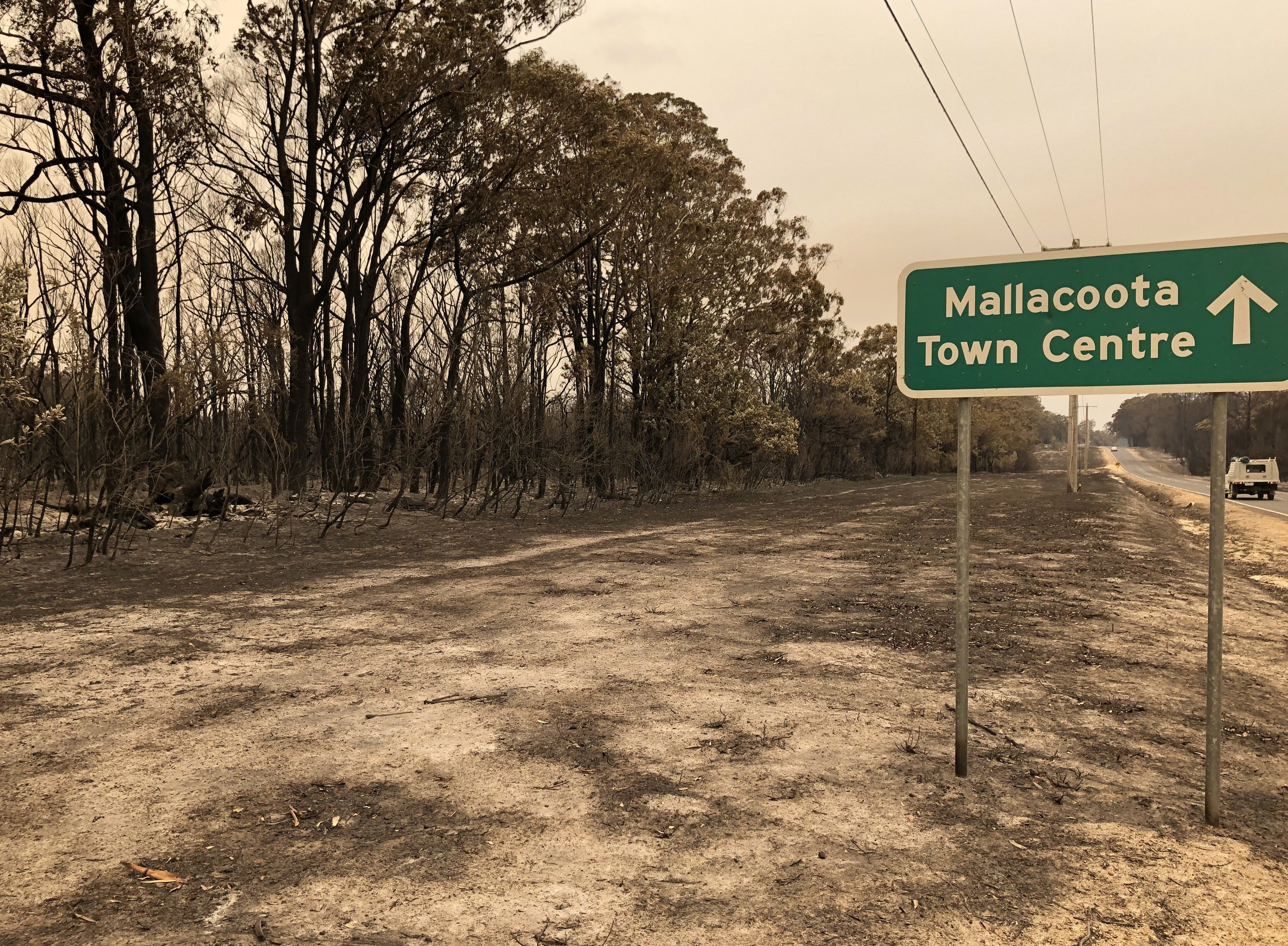 In Mallacoota, 4,000 residents and visitors have been stranded on the beach since Monday night