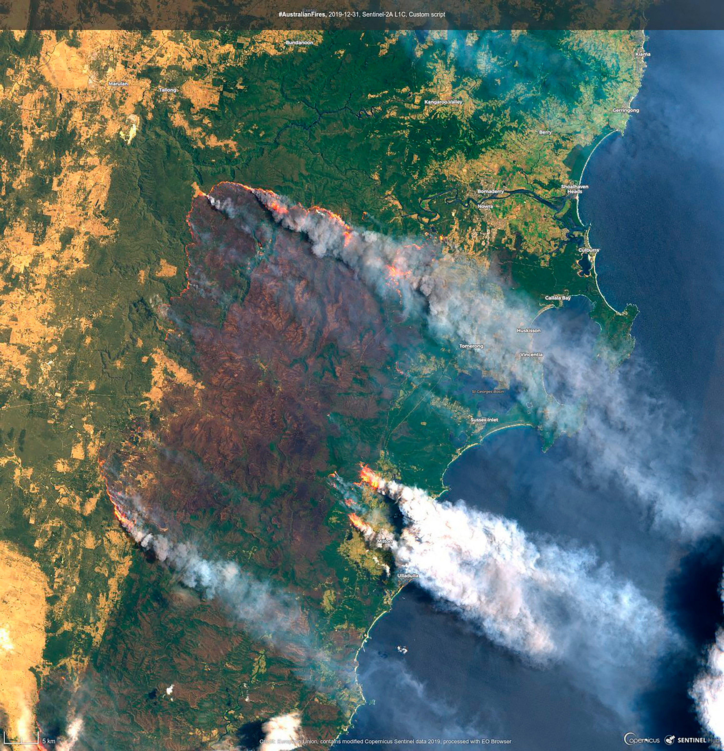 A fresh satellite image today shows fires in the Clyde Mountains south of Sydney