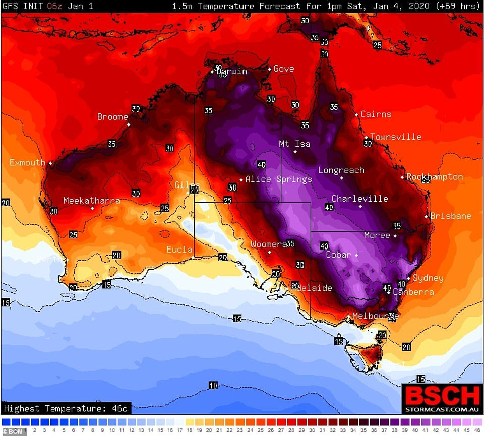 Scorching weather forecast on Saturday is expected to stoke the bush fires