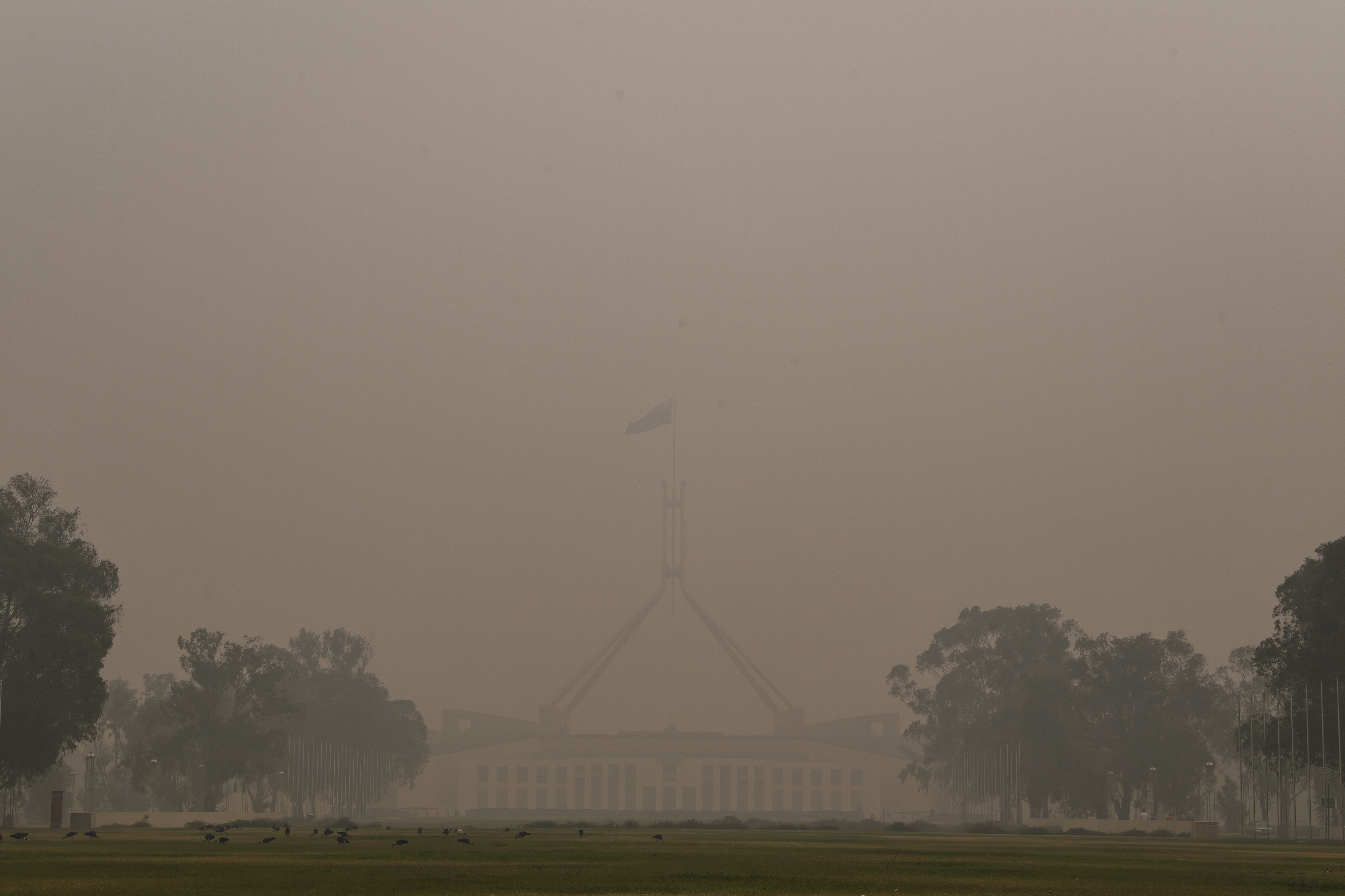 Thick smoke haze hangs around Parliament House in Canberra, Australia