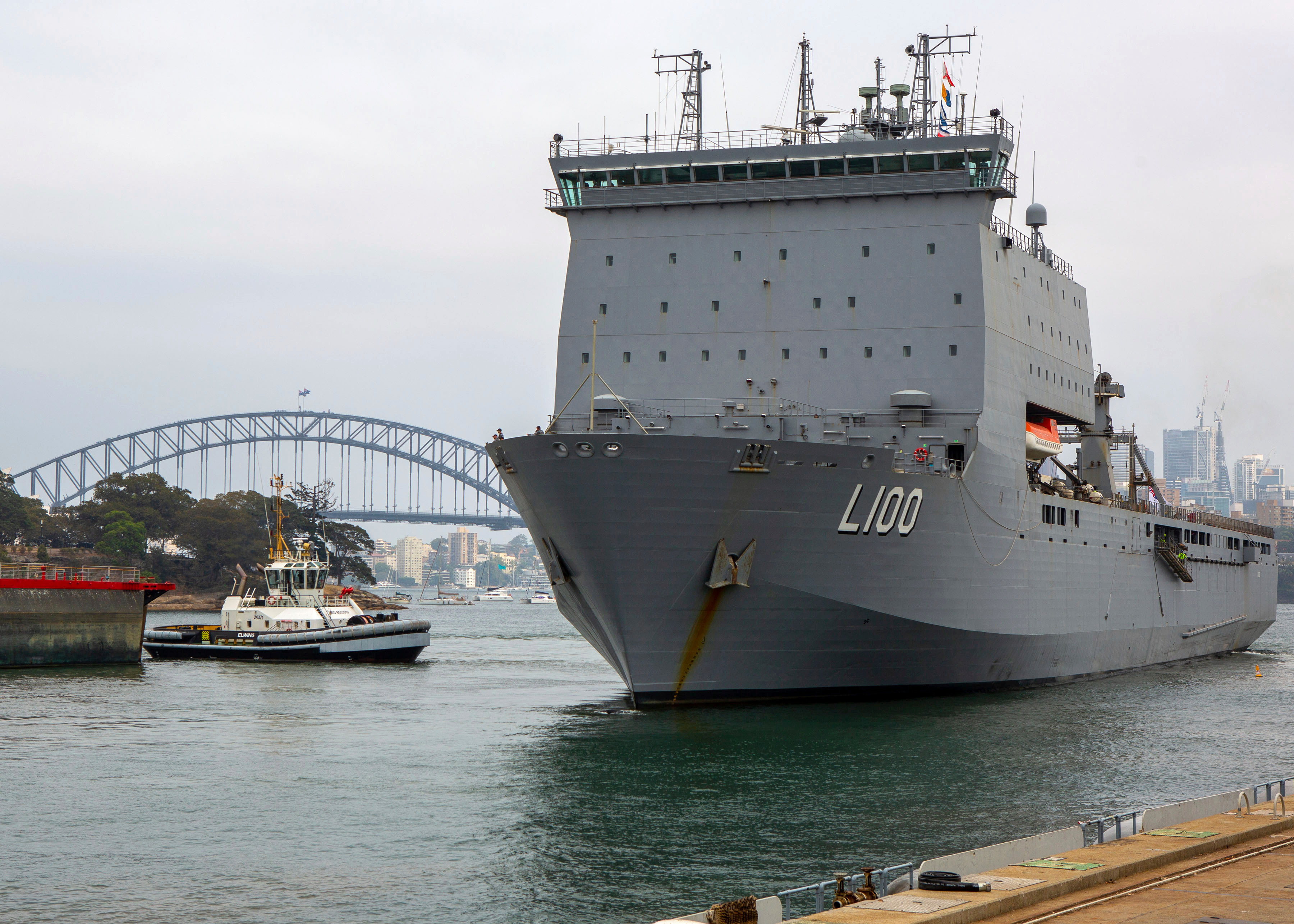 The HMAS Choules, pictured leaving Sydney, is being sent to help the evacuation
