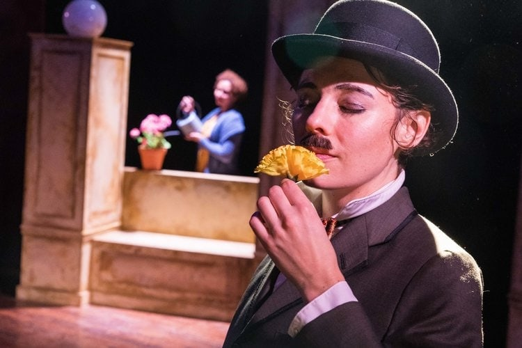 L-R: Sharalys Silva (The Blind Woman) and Kerry McGee (The Tramp) in Visions of Love by Pointless Theatre Company. Photo by DJ Corey Photography.