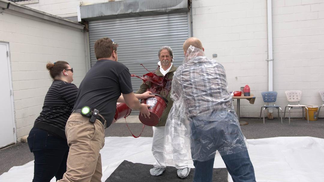 Shakespeare Theatre Company's props team tests props for 'The Oresteia.' Photo courtesy of Shakespeare Theatre Company.