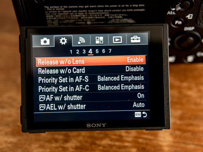 Sony a7S II setting must be enabled to shoot with manual lenses