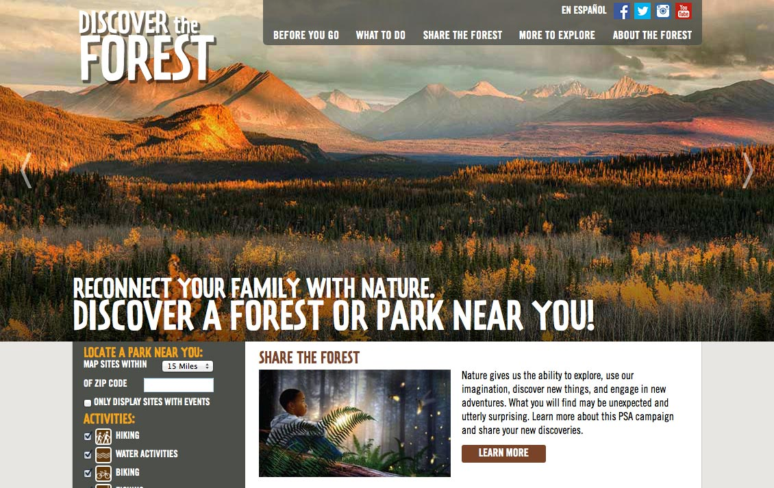 Discoer the Forest is a fantastic site for exploring US forests and national parks.
