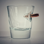 shot glass with real bullet