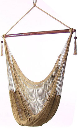 Sunnydaze Hanging Caribbean Extra Large Hammock Chair, Soft-Spun Polyester Rope, 40 Inch Wide Seat