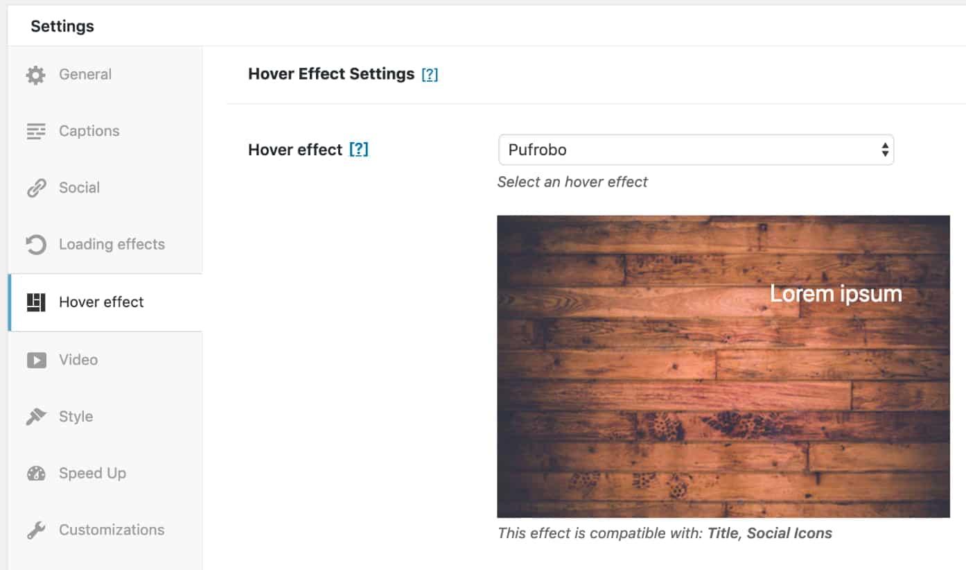 Modula hover effect