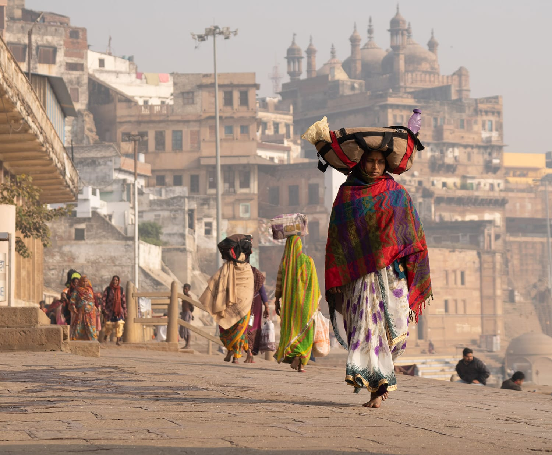 Original raw file showing street scene in Varanasi, India