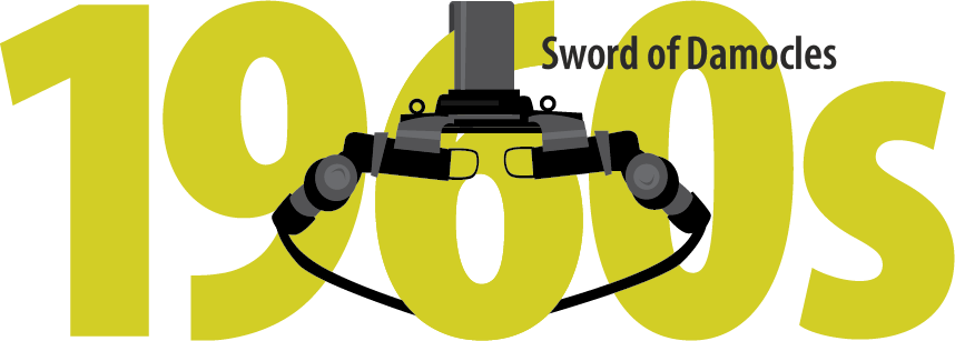 A head-mounted display consisting of a huge pillar with a harness for the head and two eyepieces placed to enable VR.