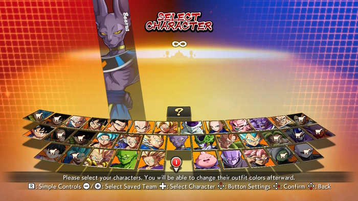 Character Select Screen in Dragon Ball FighterZ
