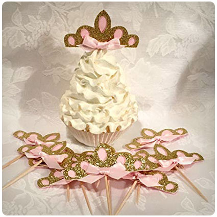Pink and Gold Glitter Tiara Cupcake Toppers