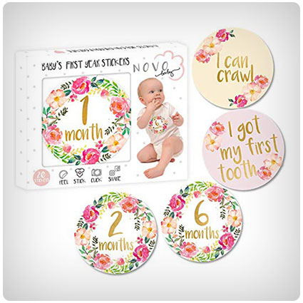 Baby Girl Monthly Milestone Stickers