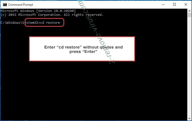 Uninstall .ADHUBLLKA files ransomware - command prompt restore