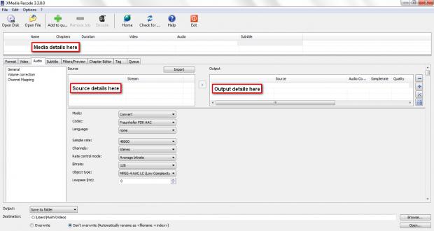 XMR Audio tab