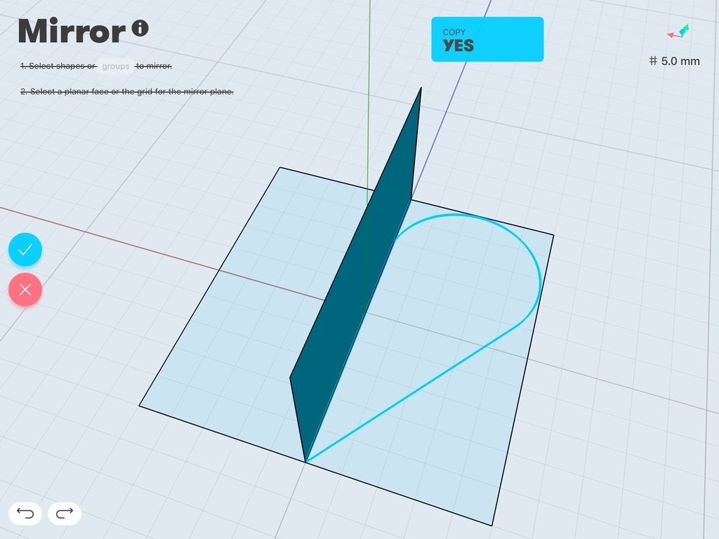 Mirror and copy in Shapr3D