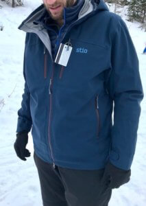 This photo shows a skier wearing the Stio Environ Jacket.