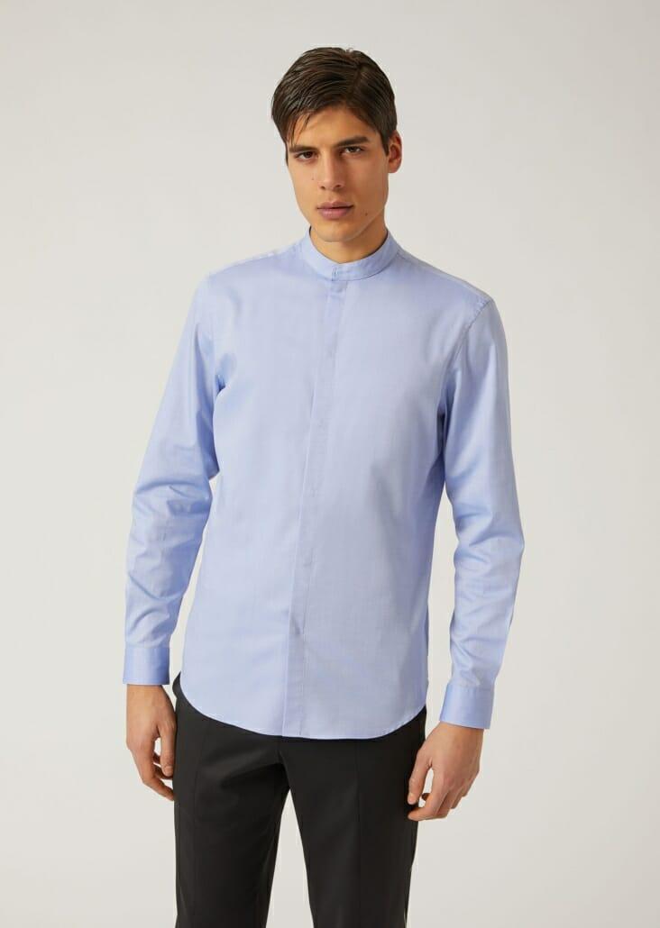 A band collar shirt from Emporio Armani