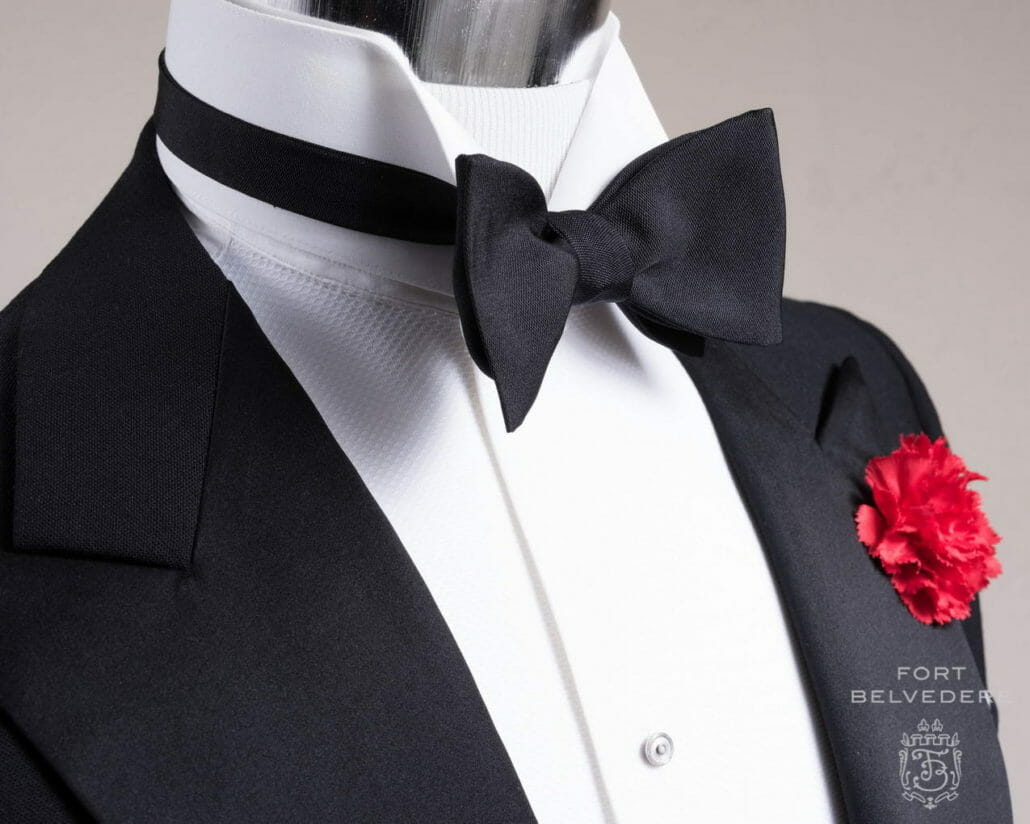 A Fort Belvedere barathea bow tie with a wing collar shirt.