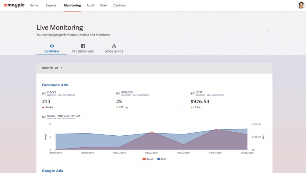 mayple dashboard live monitoring