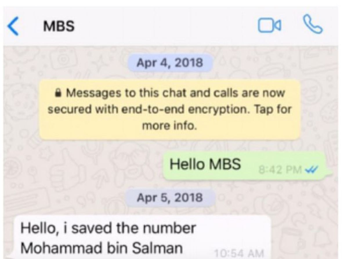 The first WhatsApp messages between Jeff Bezos, green, and the Saudi Crown Prince after dining in Hollywood together