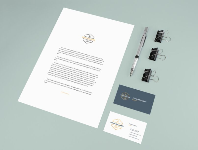 Stationery Mockup With Pencil and Clips
