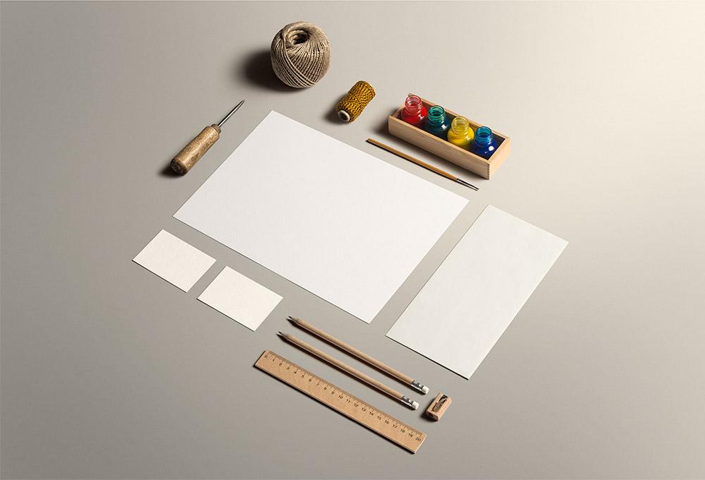Art & Craft Stationery Mockup PSD