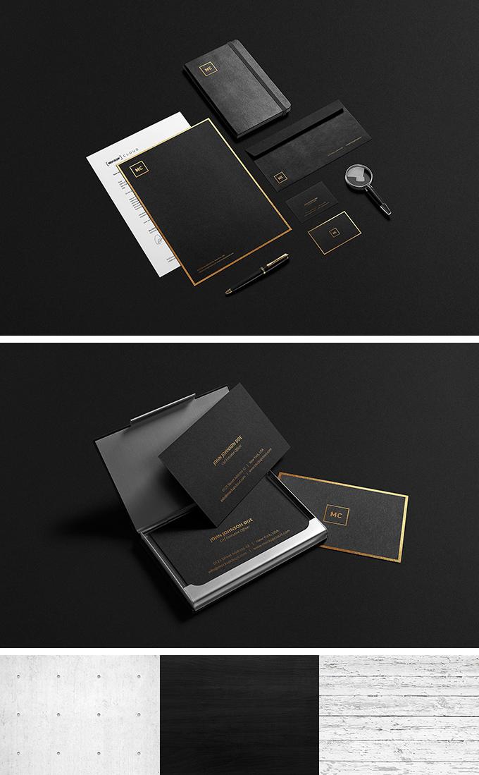 Black + Gold Stationary Mock-Up