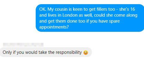 One beautician agreed to inject my '16-year-old cousin' - if I took