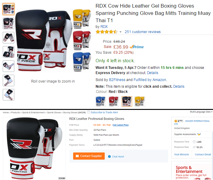 amazon fba business boxing gloves