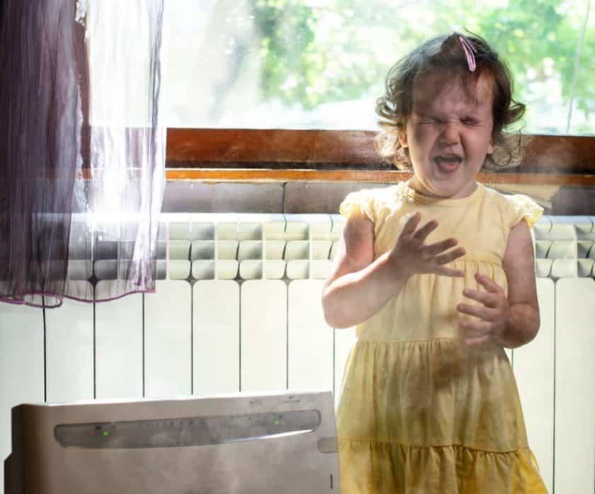 Little girl dusty room