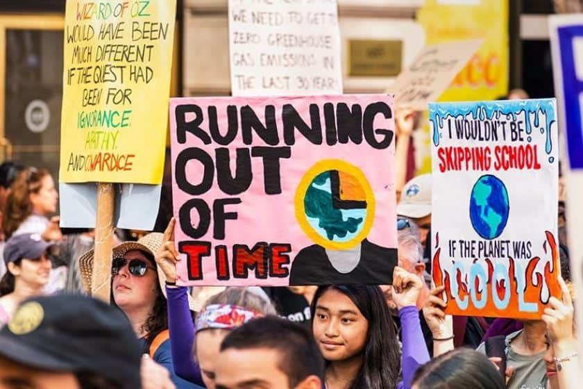 Protest People Sign Running out of Time