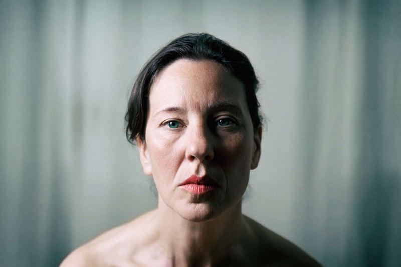 Portrait of senior woman red lipstick