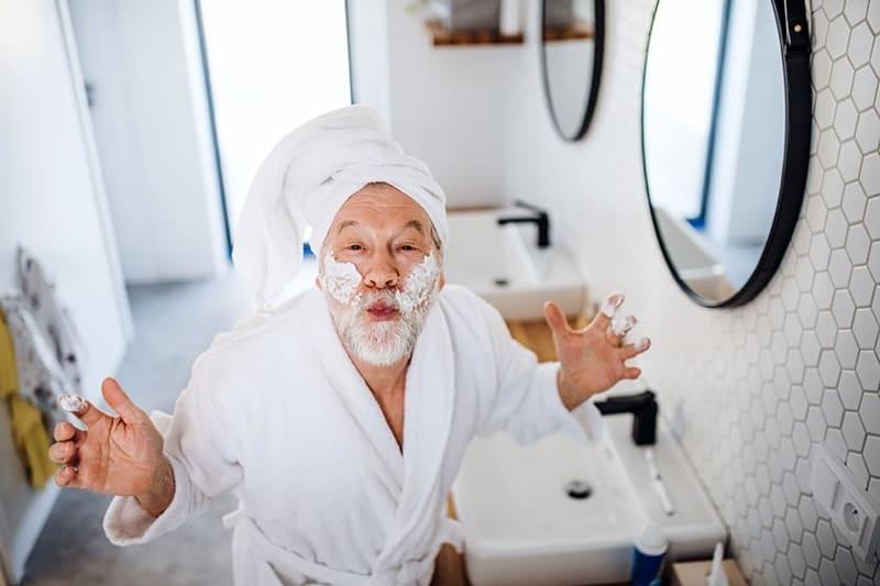 Senior Man Bathroom Routine Silly Funny