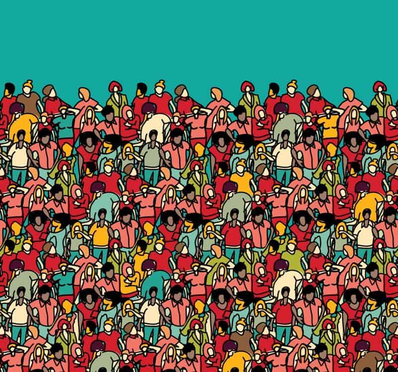 Big crowd illustration seamless pattern