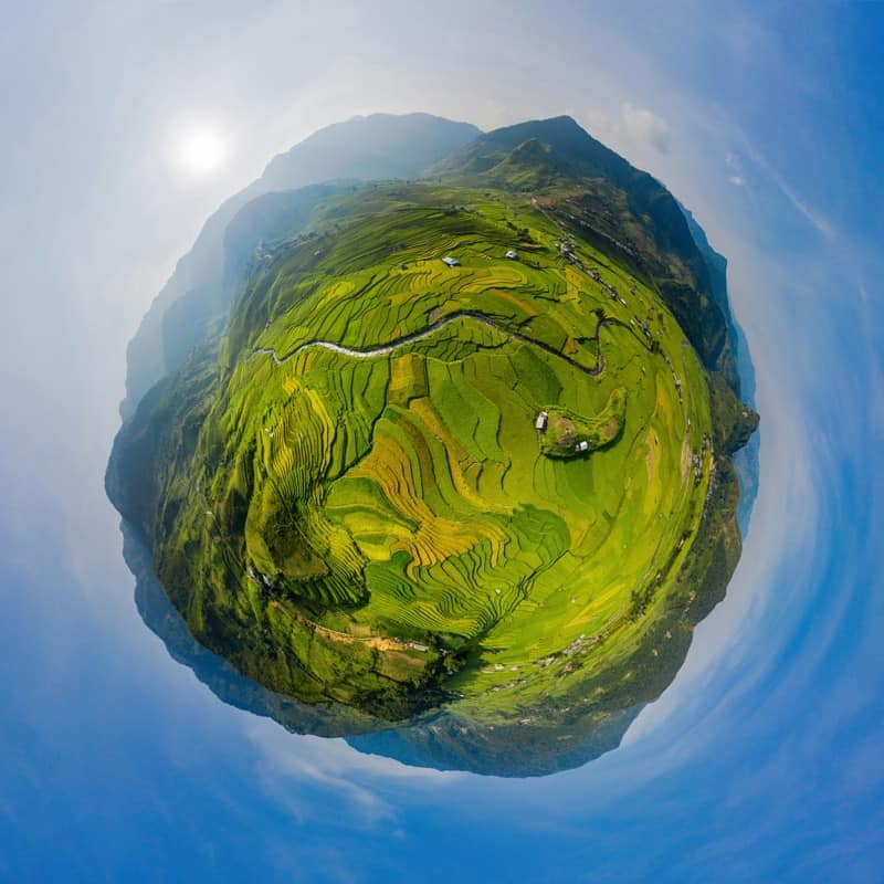 360 degree panorama of rice terraces