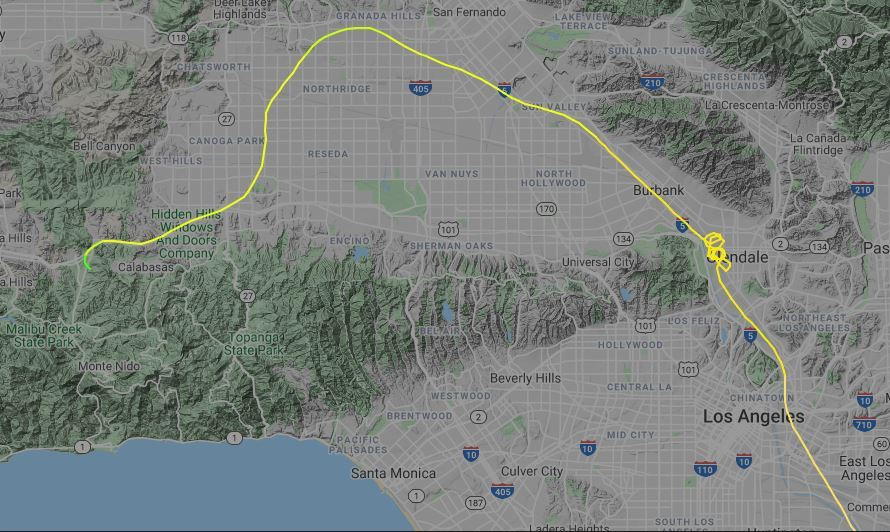 The flight map shows how the helicopter circled for around 15 minutes and tried to turn before crashing