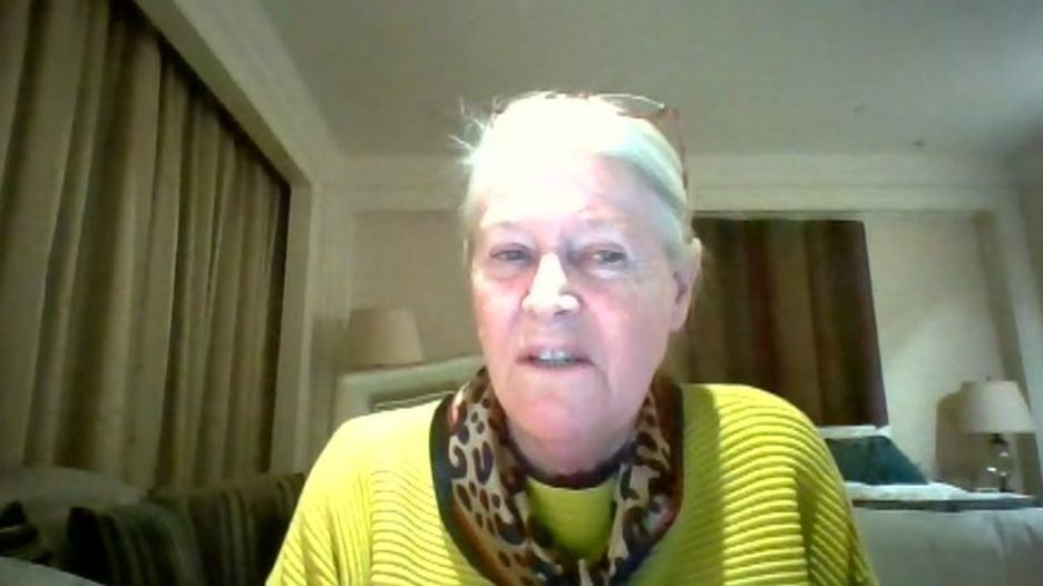 Cardiff lecturer 'stranded' in Wuhan Yvonne Griffiths spoke to BBC Wales via Skype from her hotel room