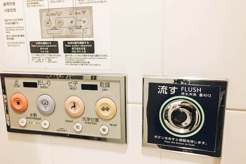 The buttons on a Japanese Toilet