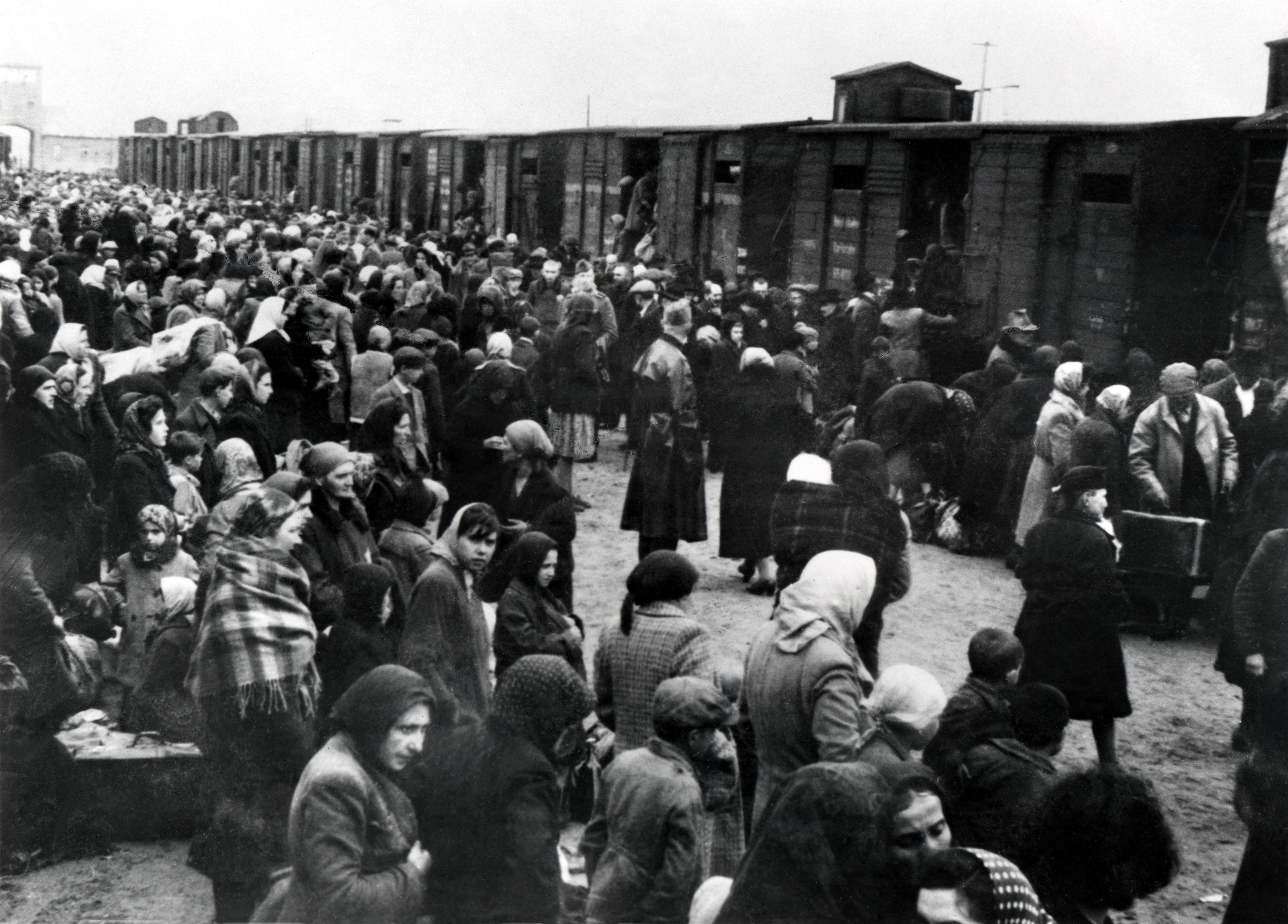 Jewish prisoners arrive at Auschwitz concentration camp in Nazi-occupied Poland