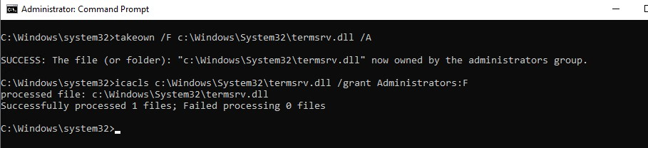termsrv.dll takeown and grant access permissions
